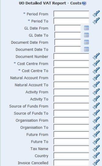 uo detailed vat report costs