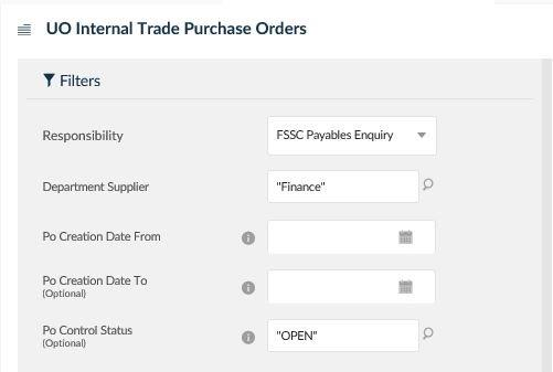uo internal trade purchase orders