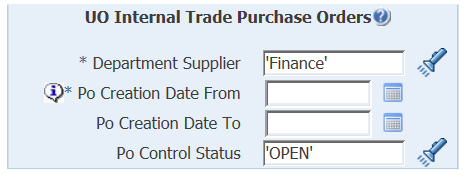 uo internal trade purchase orders parameters