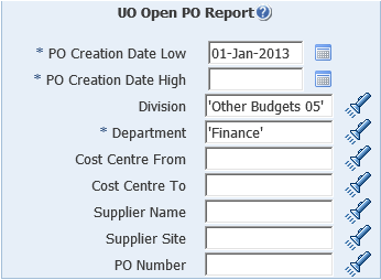 uo open po report screenshot