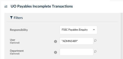 uo payables incomplete transactions