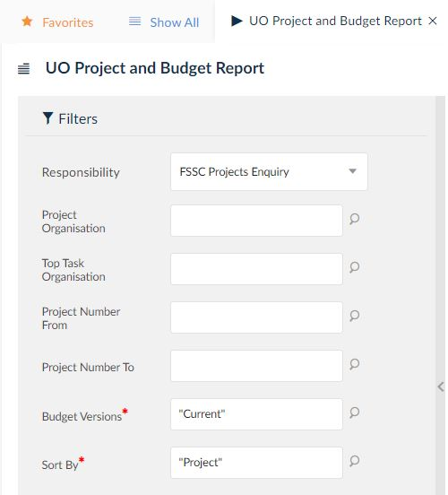 uo project and budget