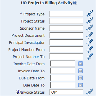 uo projects billing activity parameters