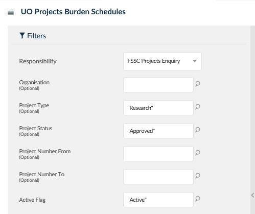uo projects burden schedules