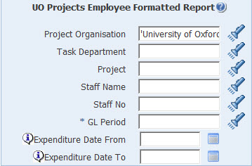 uo projects employee formatted report parameters