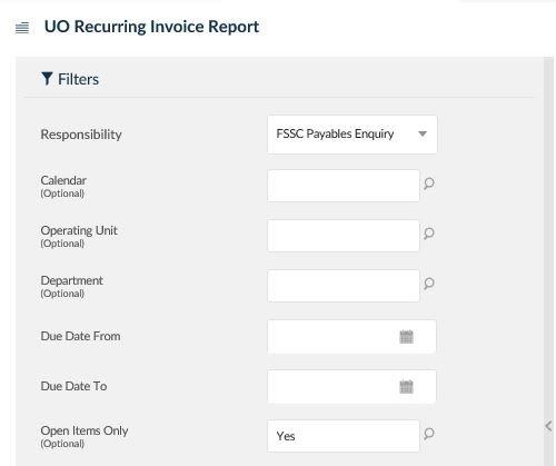 uo recurring invoice report