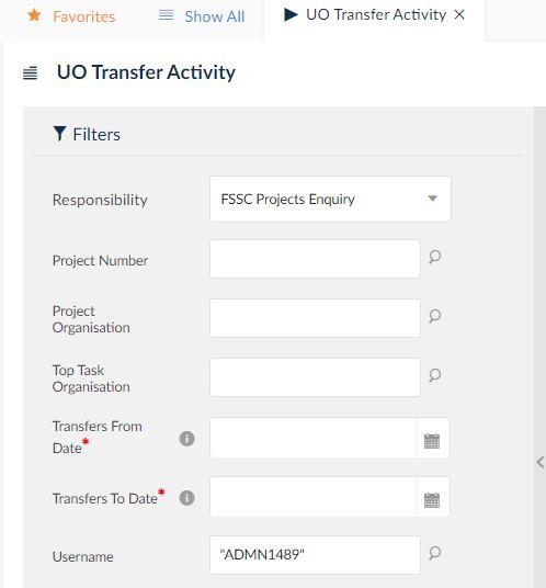 uo transfer activity