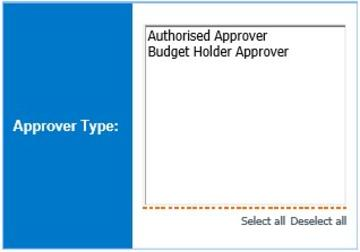Screen showing options to select Approver Type: either Authorised Approver or Budget Holder Approver