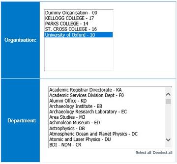 Screen showing options to select Organisation and, or Department